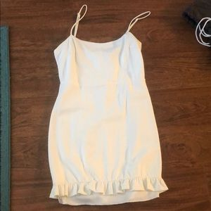White mini ruffle dress